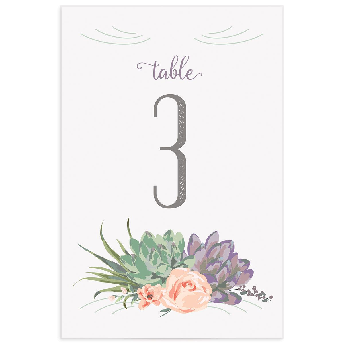 Romantic Succulents table number pur