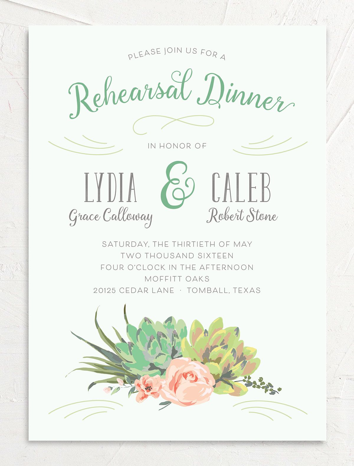 Romantic Succulents rehearsal dinner invite grn front