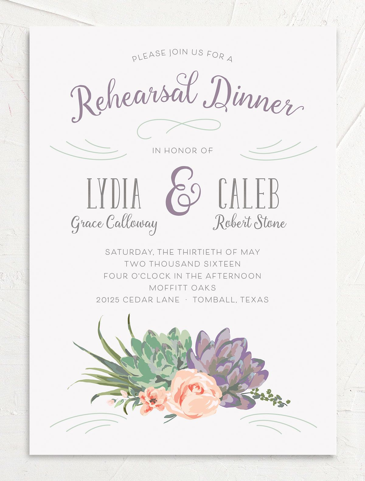 Romantic Succulents rehearsal invite purp