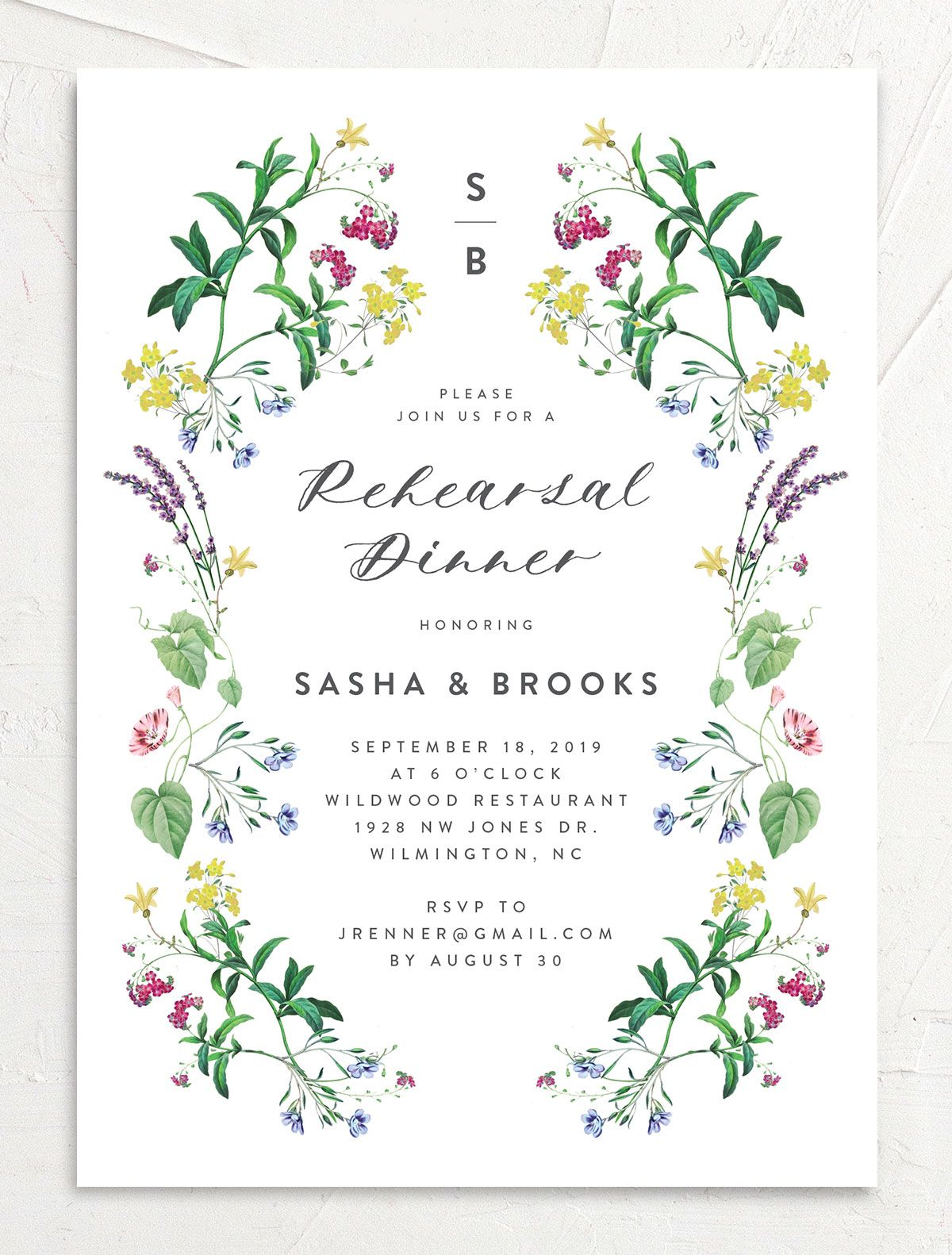 enchanted wildflower rehearsal dinner invites in green