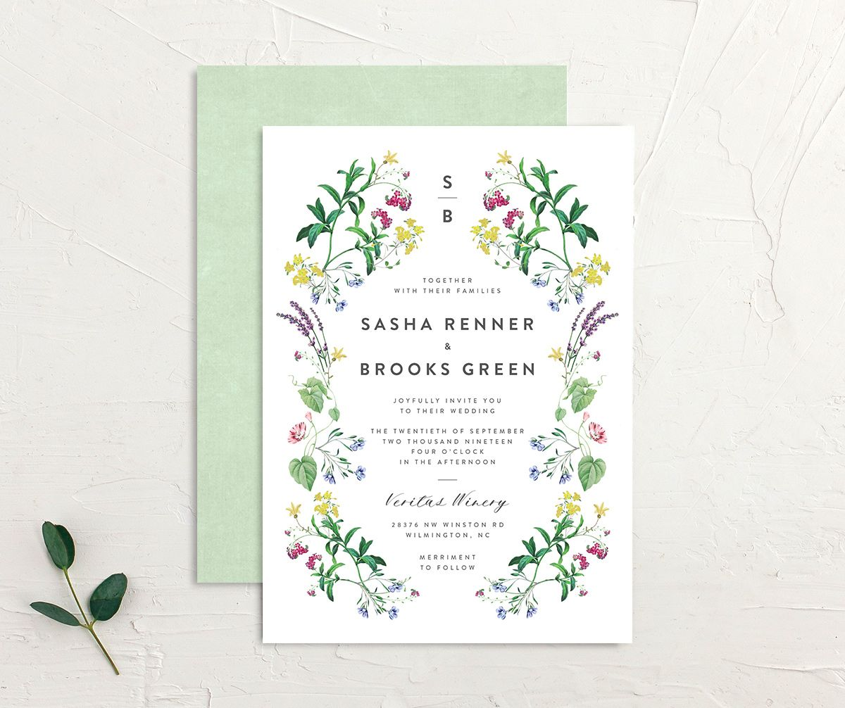 enchanted wildflower wedding invite in green