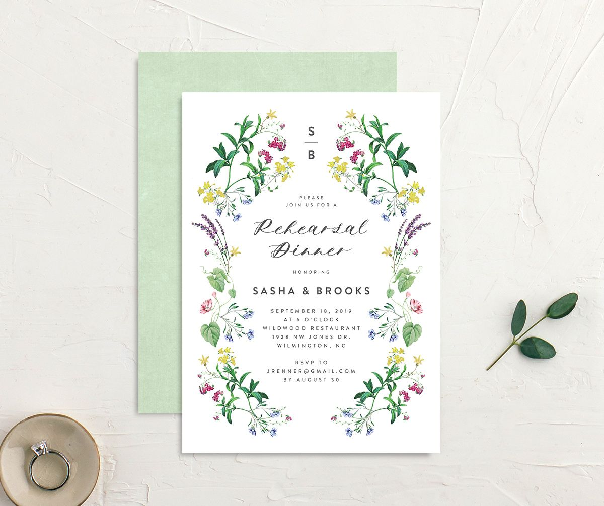 enchanted wildflower rehearsal dinner invitation in green
