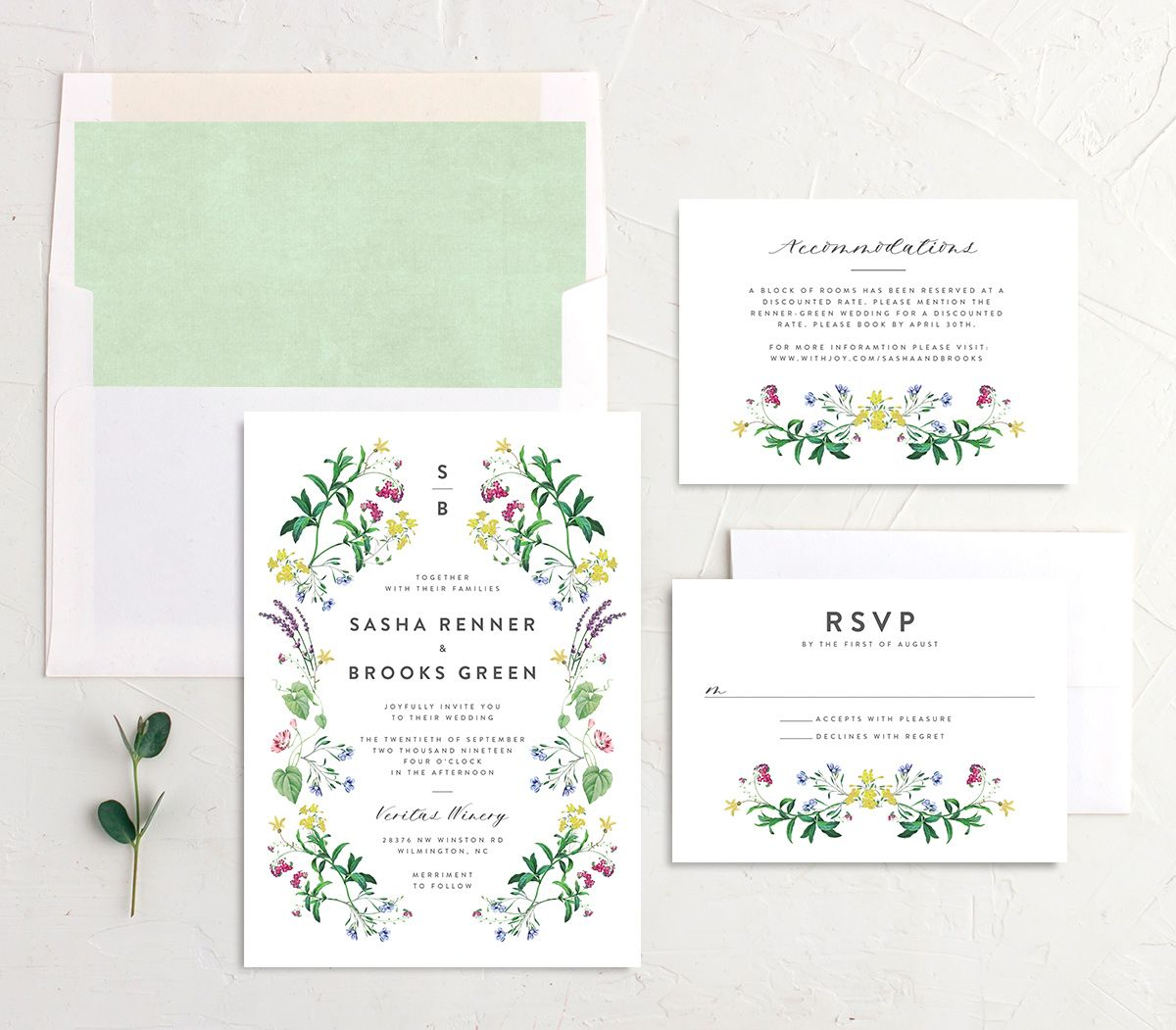 enchanted wildflower wedding invitation suite in green