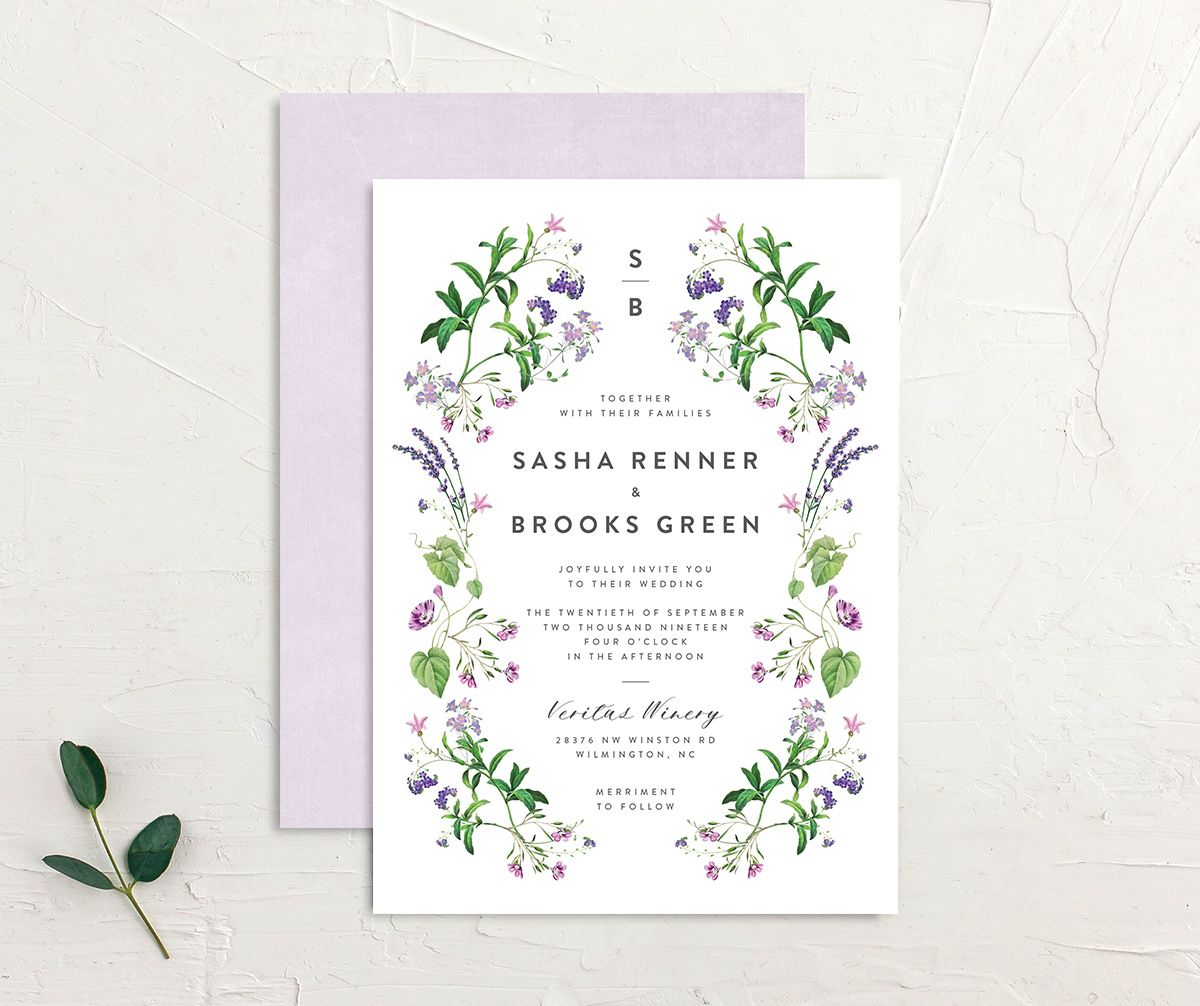 enchanted wildflower wedding invite in purple