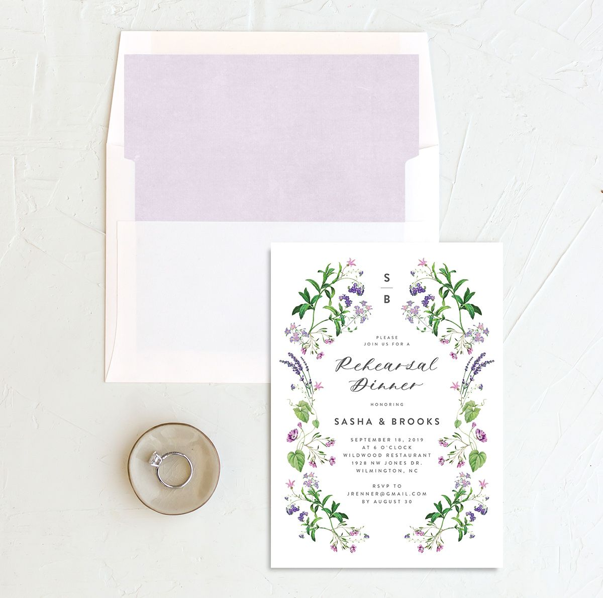 enchanted wildflower rehearsal dinner invites with envelope liner