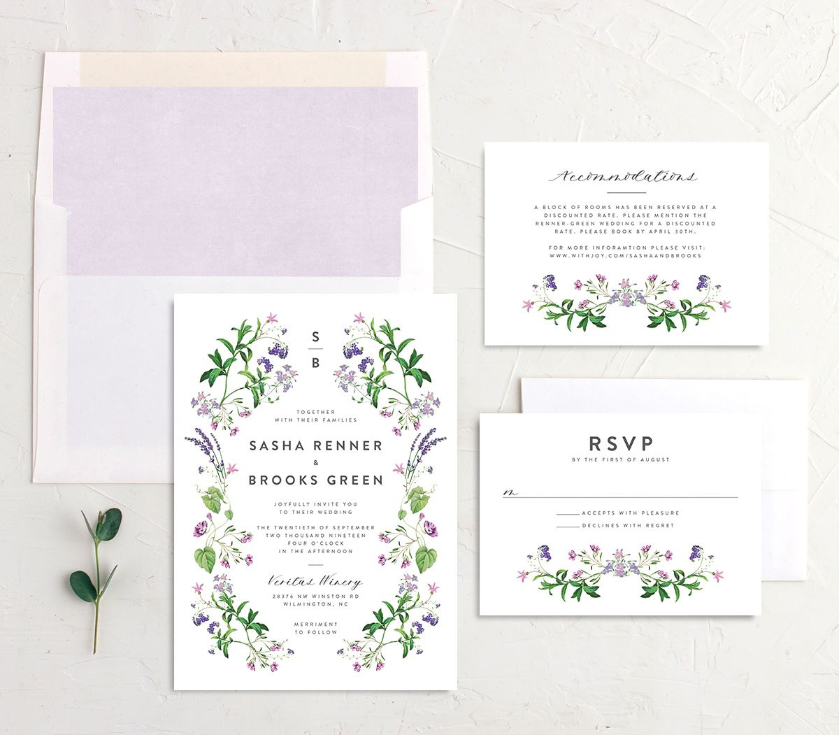 enchanted wildflower wedding invitation suite in purple