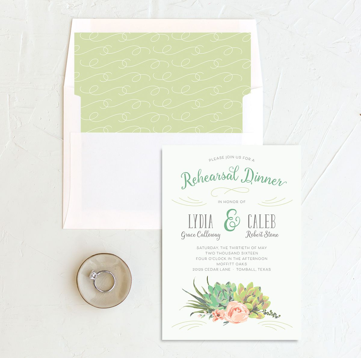 Romantic Succulents rehearsal dinner invite grn merch