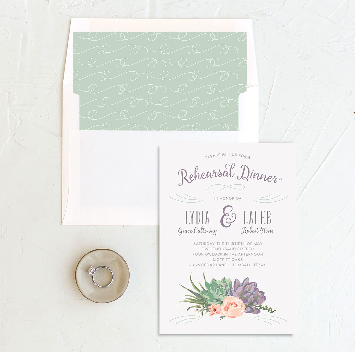 Romantic Succulents rehearsal invite pur liner merch