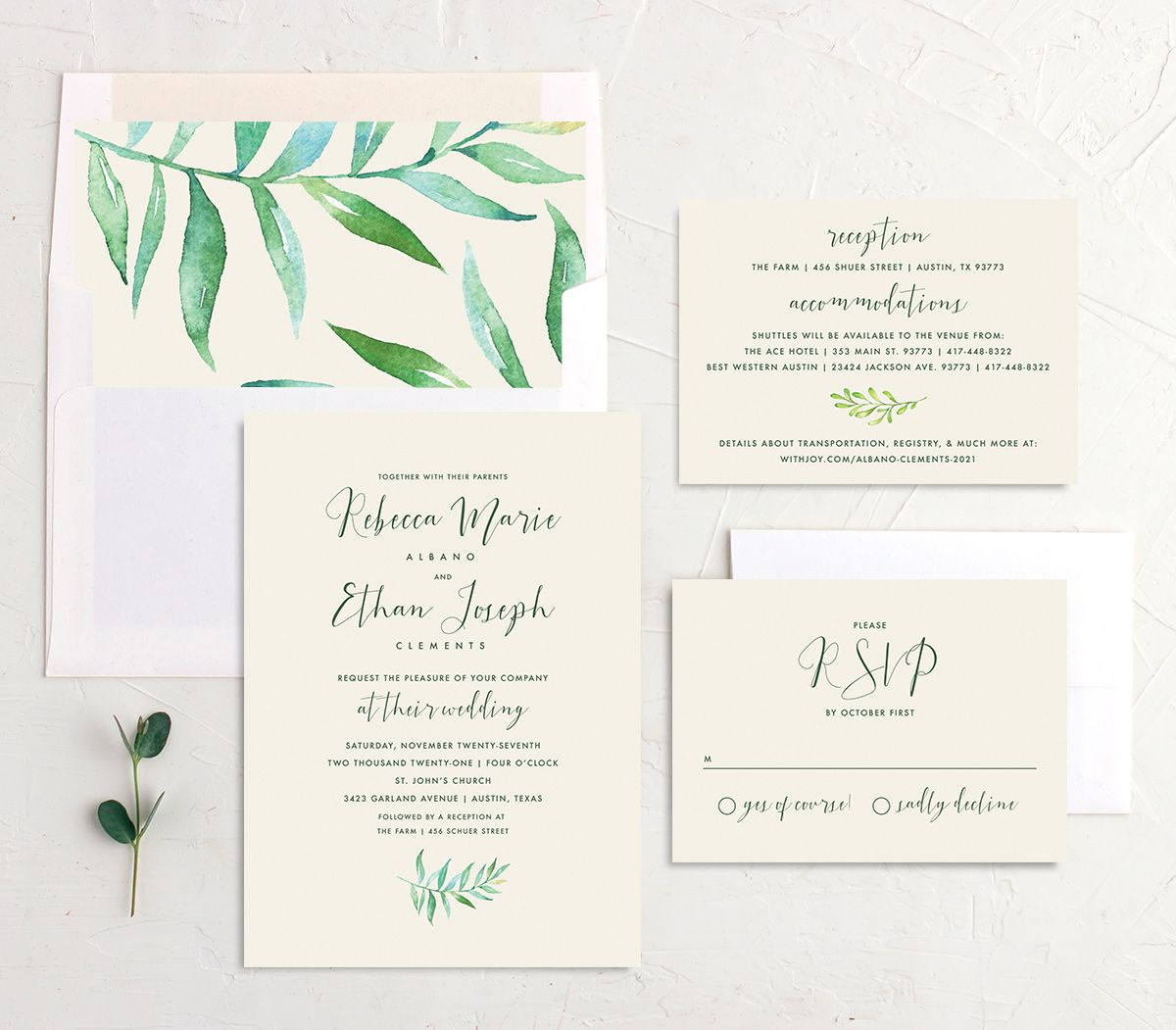 Calligraphic Botanical wedding invitation suite cream
