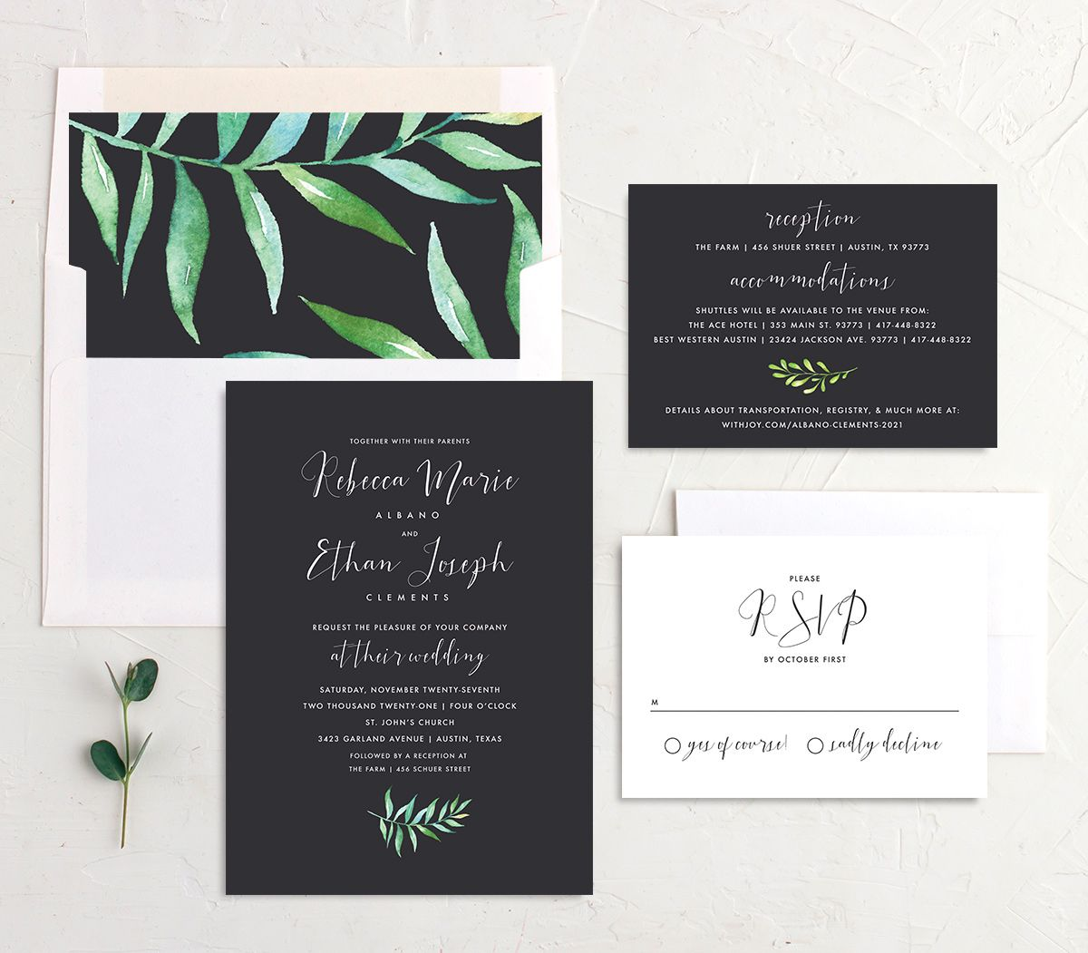 Calligraphic Botanical wedding invitation suite gray