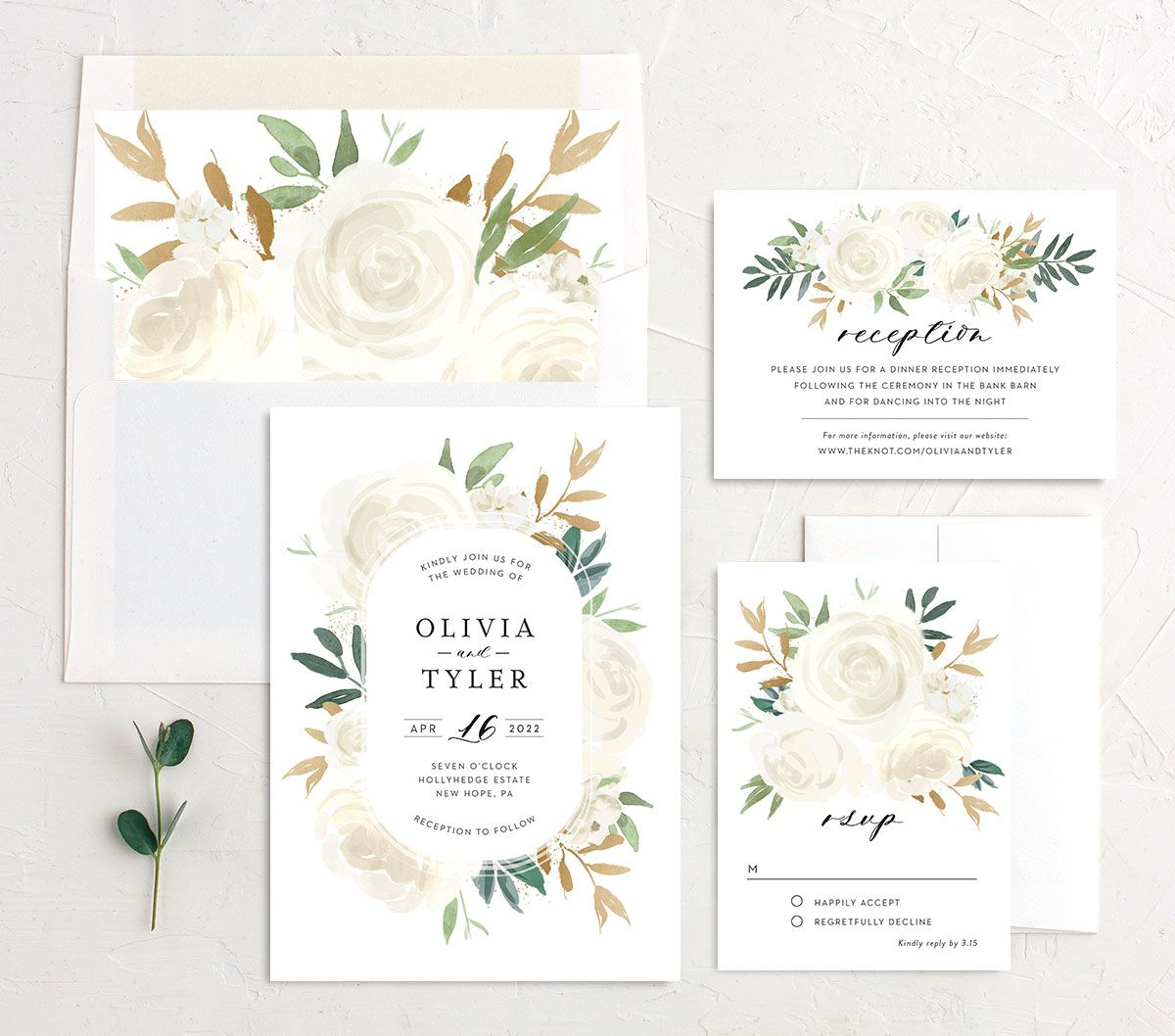 Floral Bouquet wedding suite cream