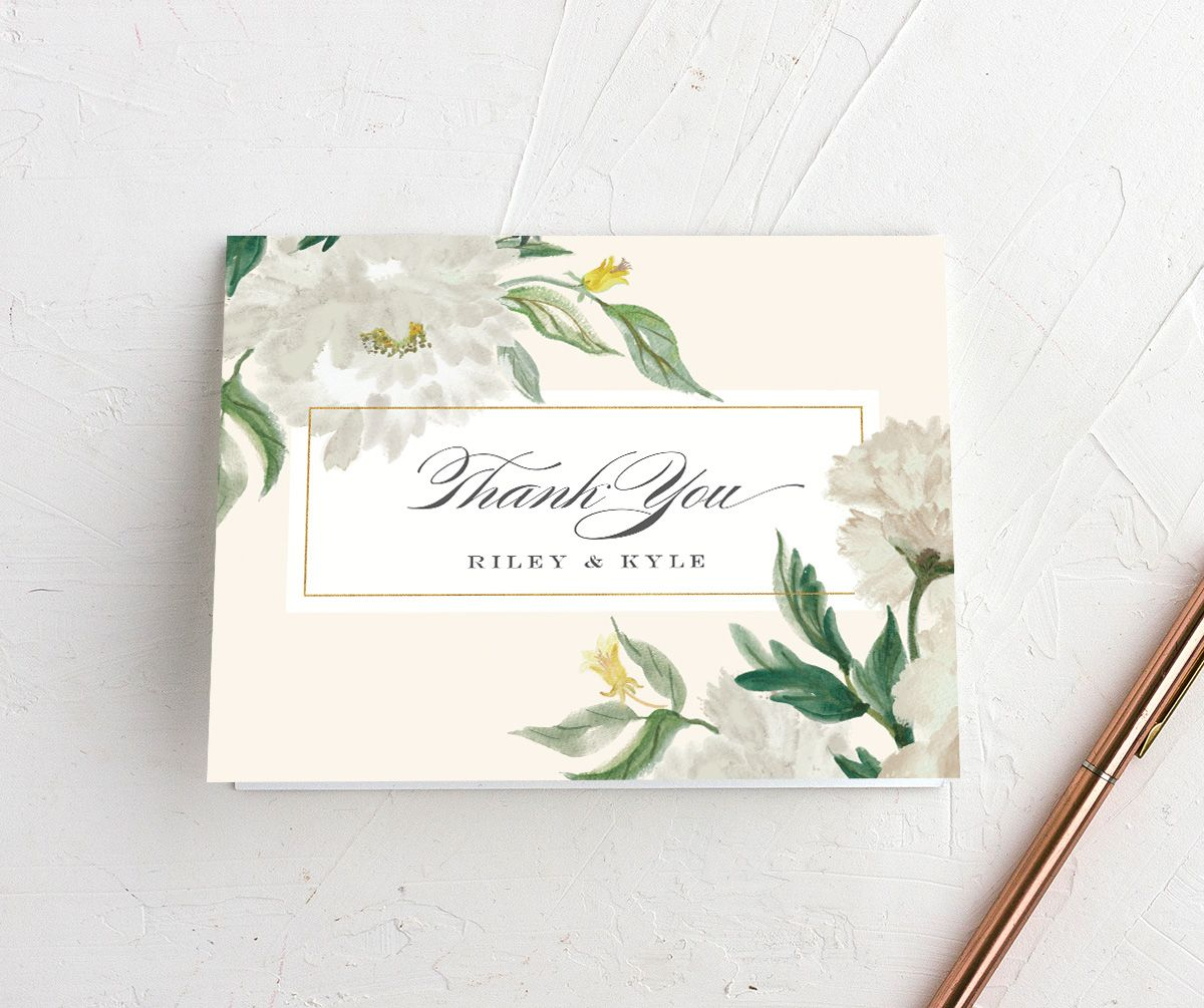 velvet floral thank you cards in green
