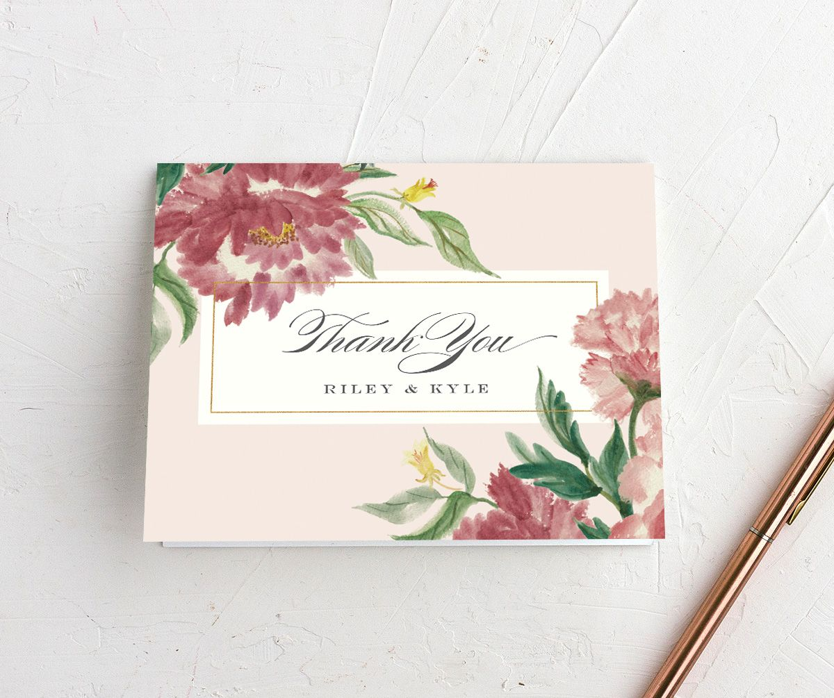 velvet floral thank you card in pink