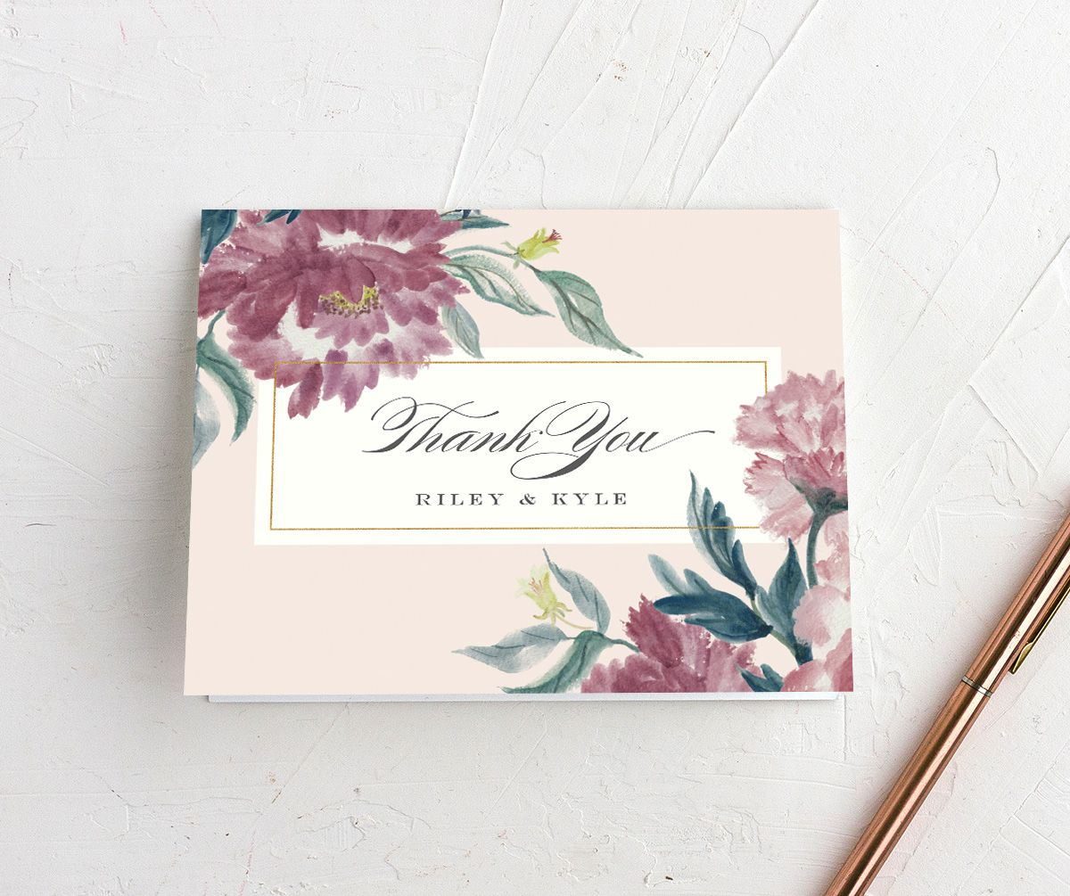 velvet floral wedding thank you card in purple