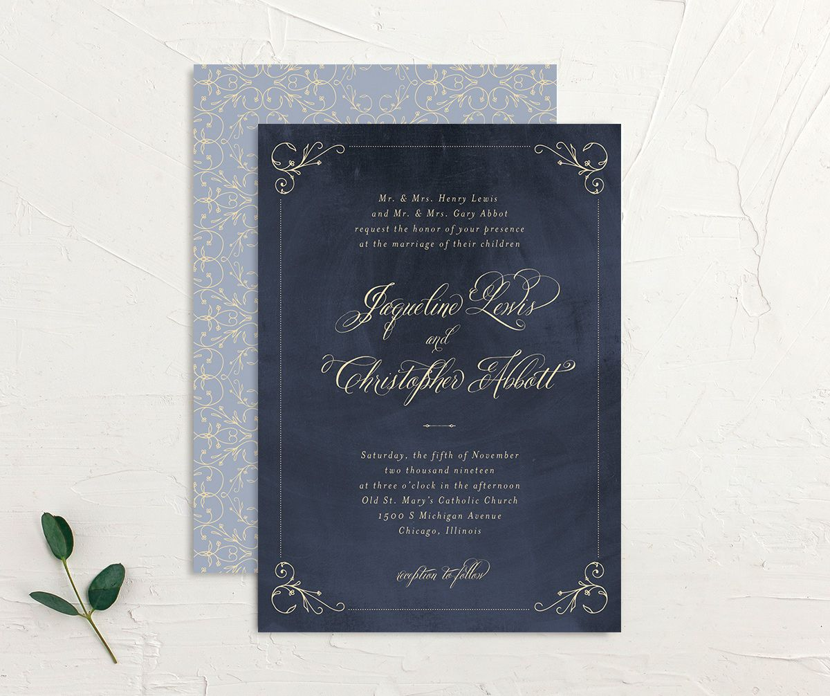 navy vintage luxe wedding invitations