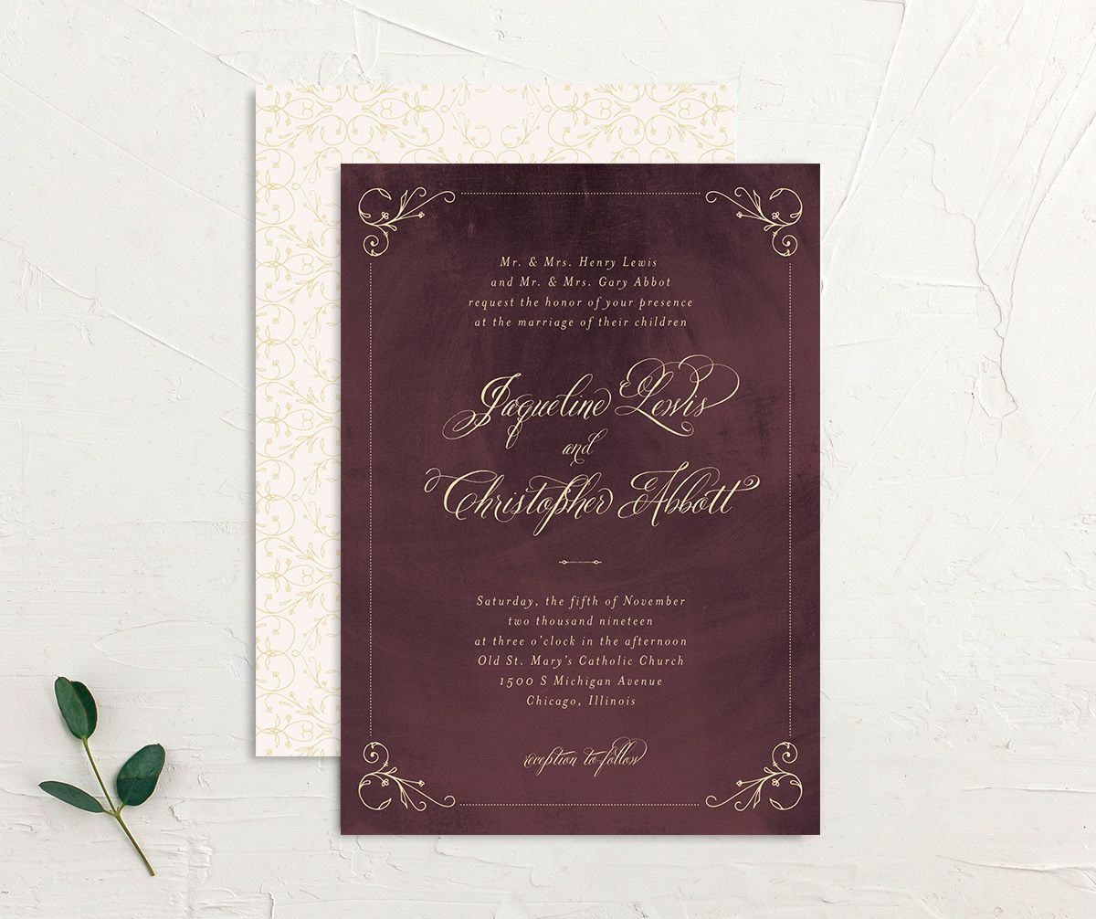 burgundy vintage luxe wedding invitation