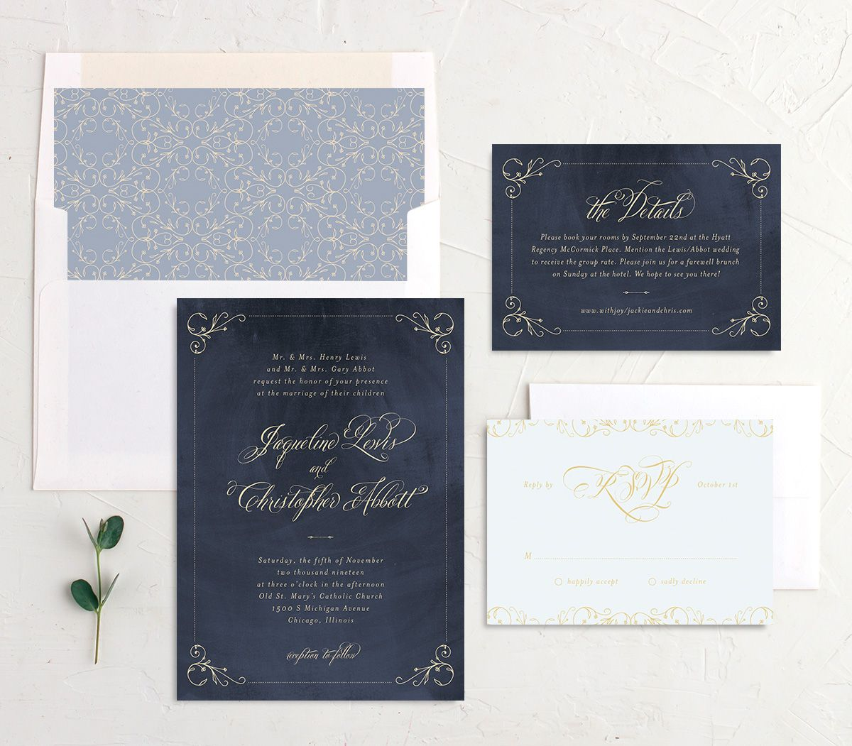 vintage luxe wedding invitation suite in navy