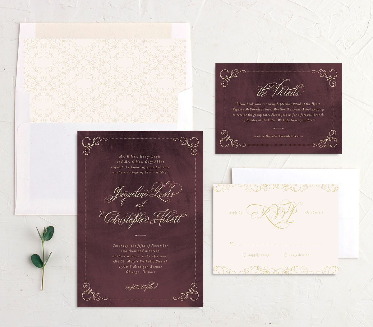 vintage luxe wedding invitation suite in burgundy