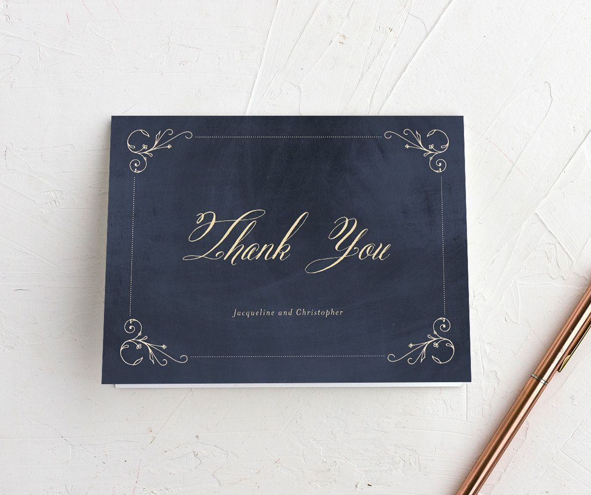 vintage luxe thank you cards in navy