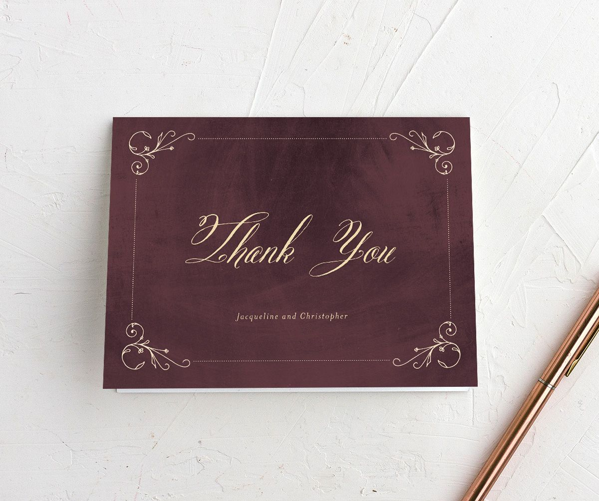 vintage luxe thank you cards in burgundy