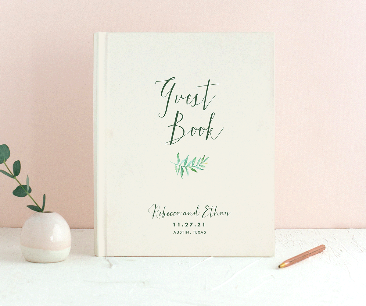 Calligraphic Botanical guest book cream