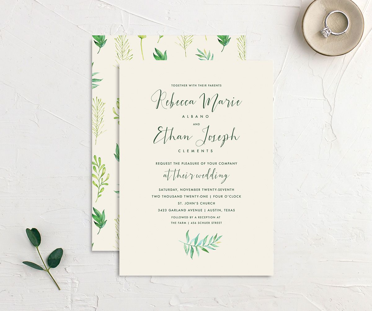 Calligraphic Botanical wedding invitation cream