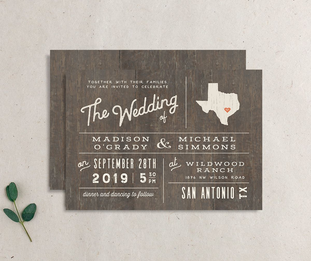Custom State wedding invitation