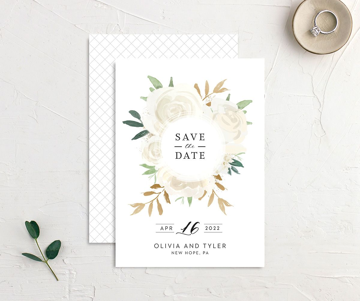 Floral Bouquet wedding save the date cream
