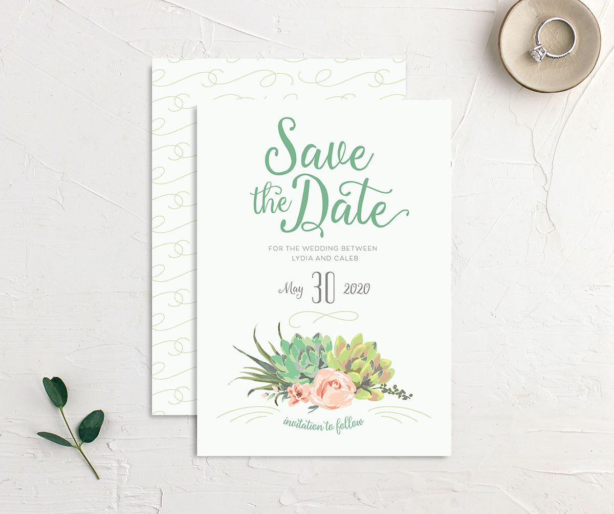 Romantic Succulents save the date grn