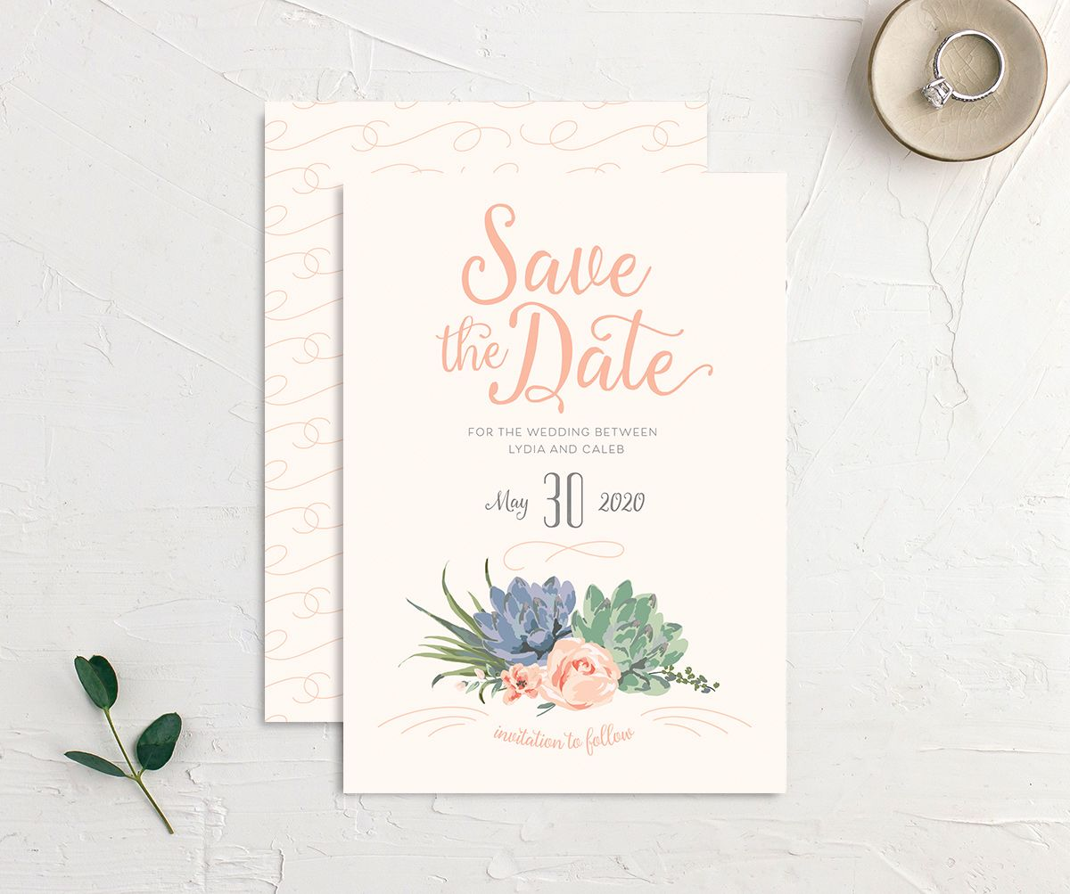 Romantic Succulents save the date merch pnk