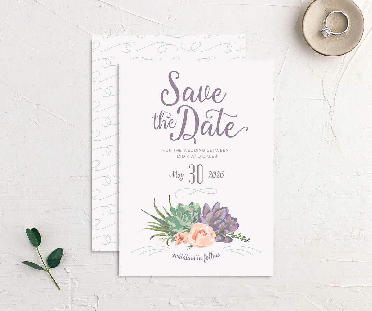 Romantic Succulents save the date merch pur