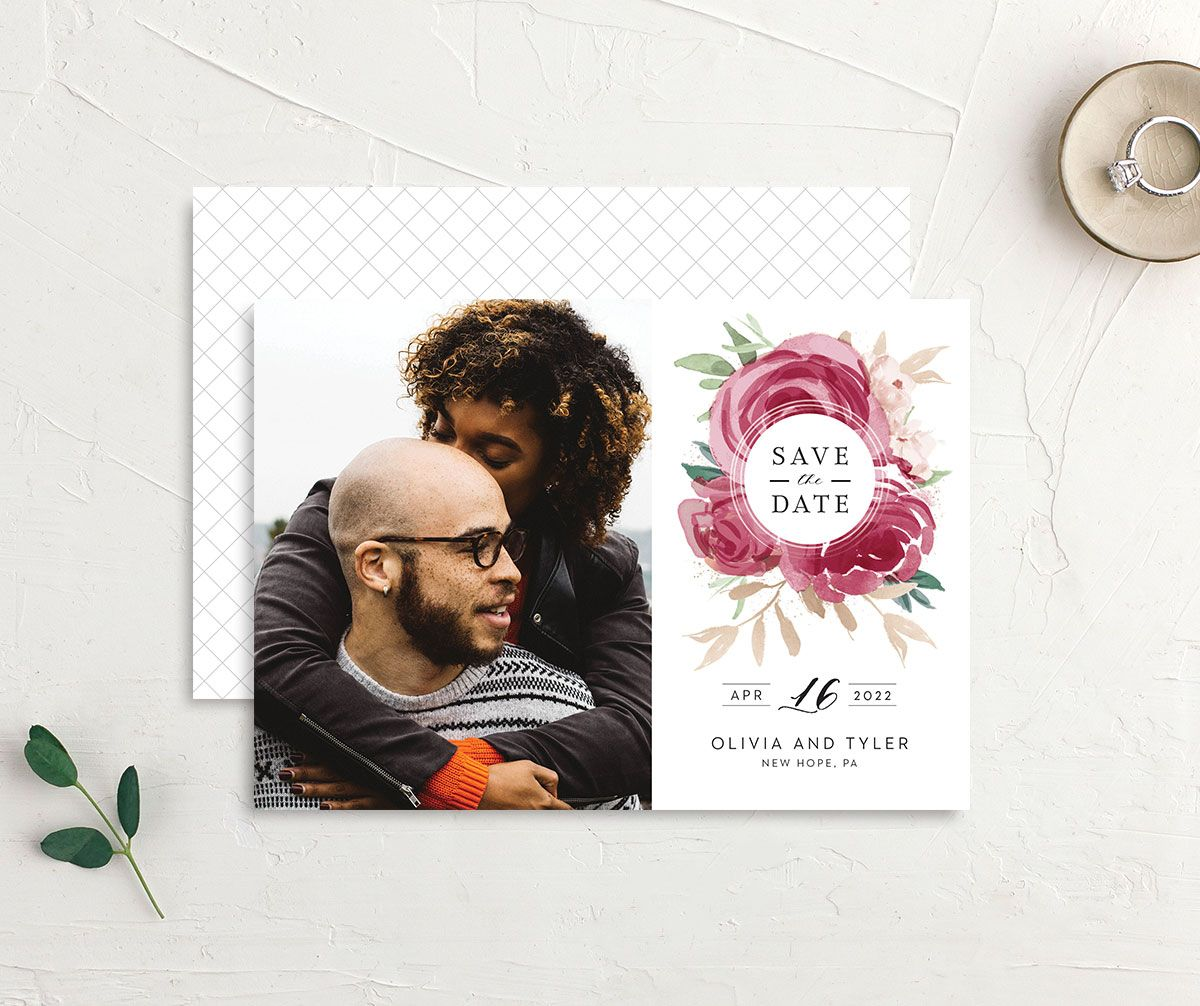 Floral Bouquet Photo Save the date burgundy