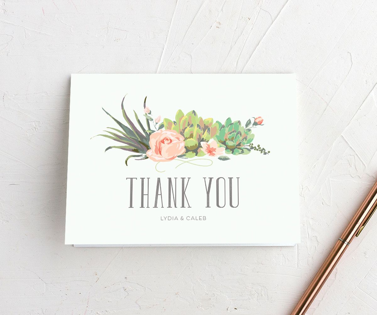 Romantic Succulents thank you card merch grn