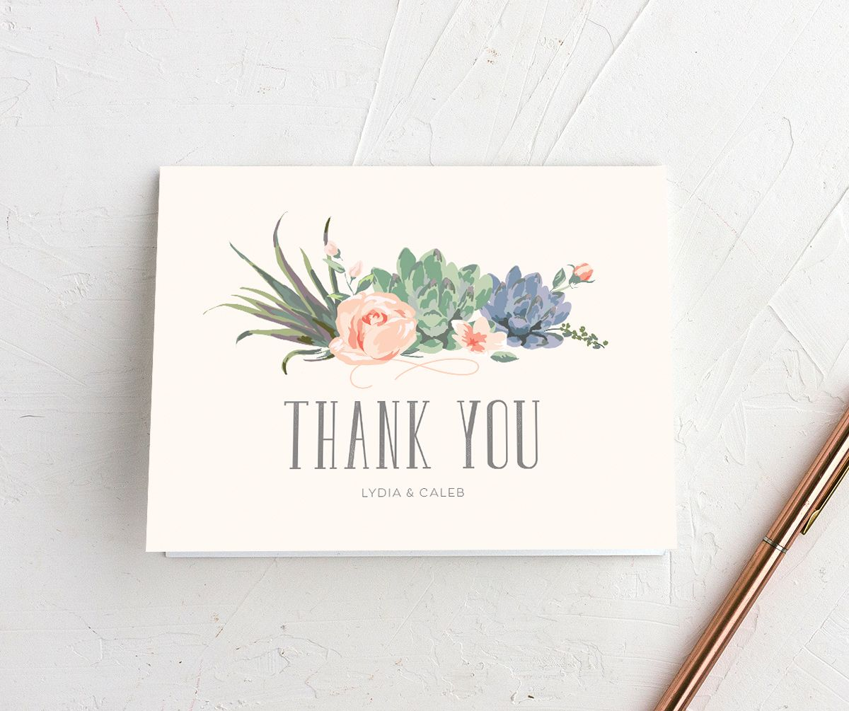 Romantic Succulents thank you card merch pnk