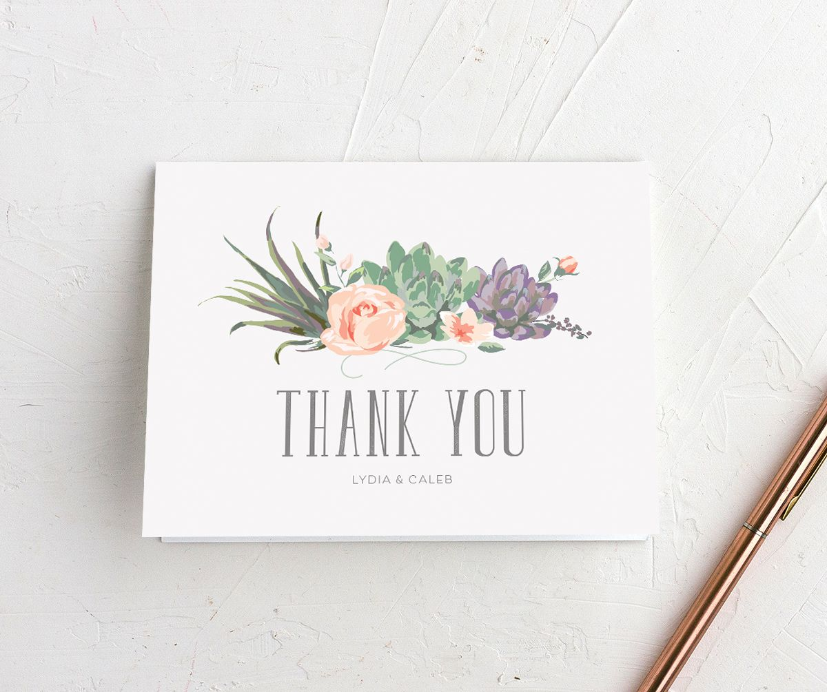 Romantic Succulents thank you card pur merch