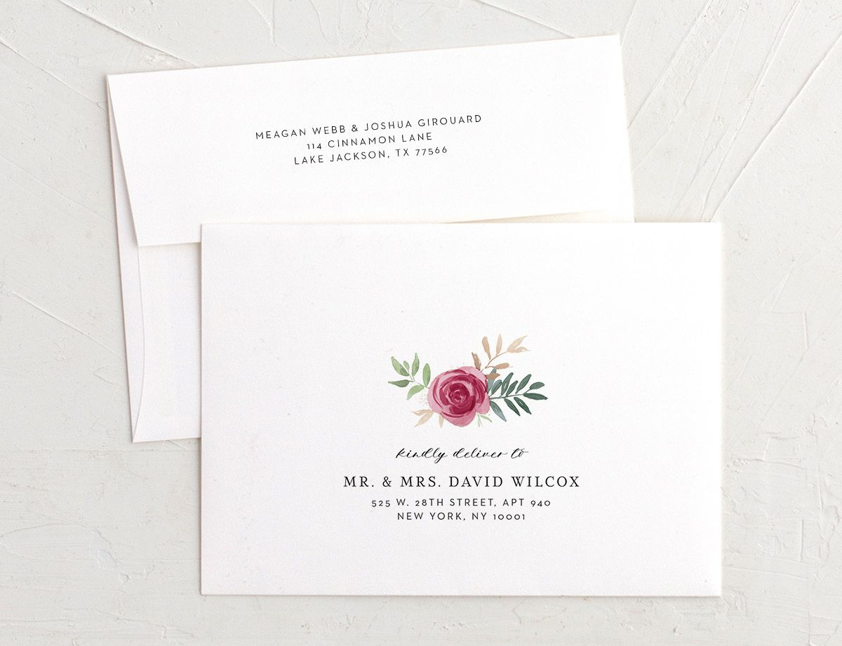 floral bouquet recipient address printing in burgundy