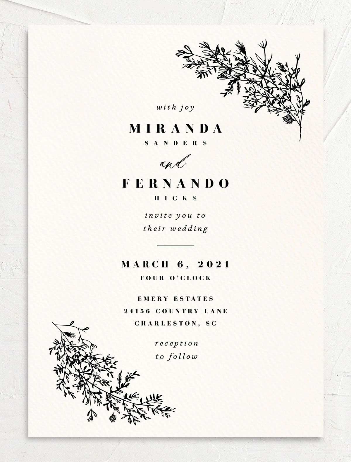 Botanical branches wedding invites in black