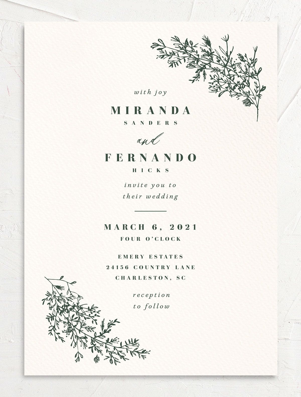 Botanical Branches wedding invite in green
