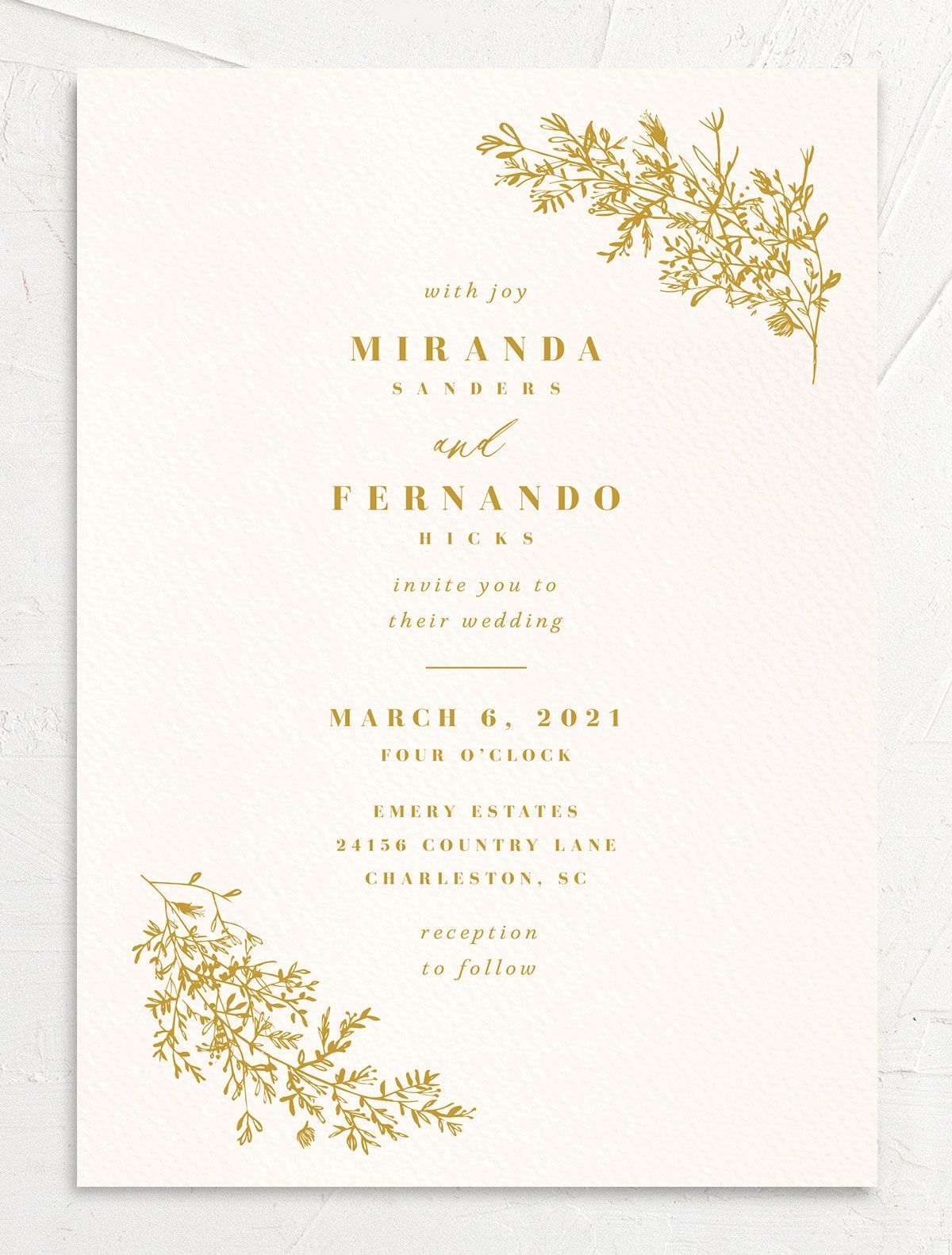 Botanical branches wedding invitation in mustard yellow