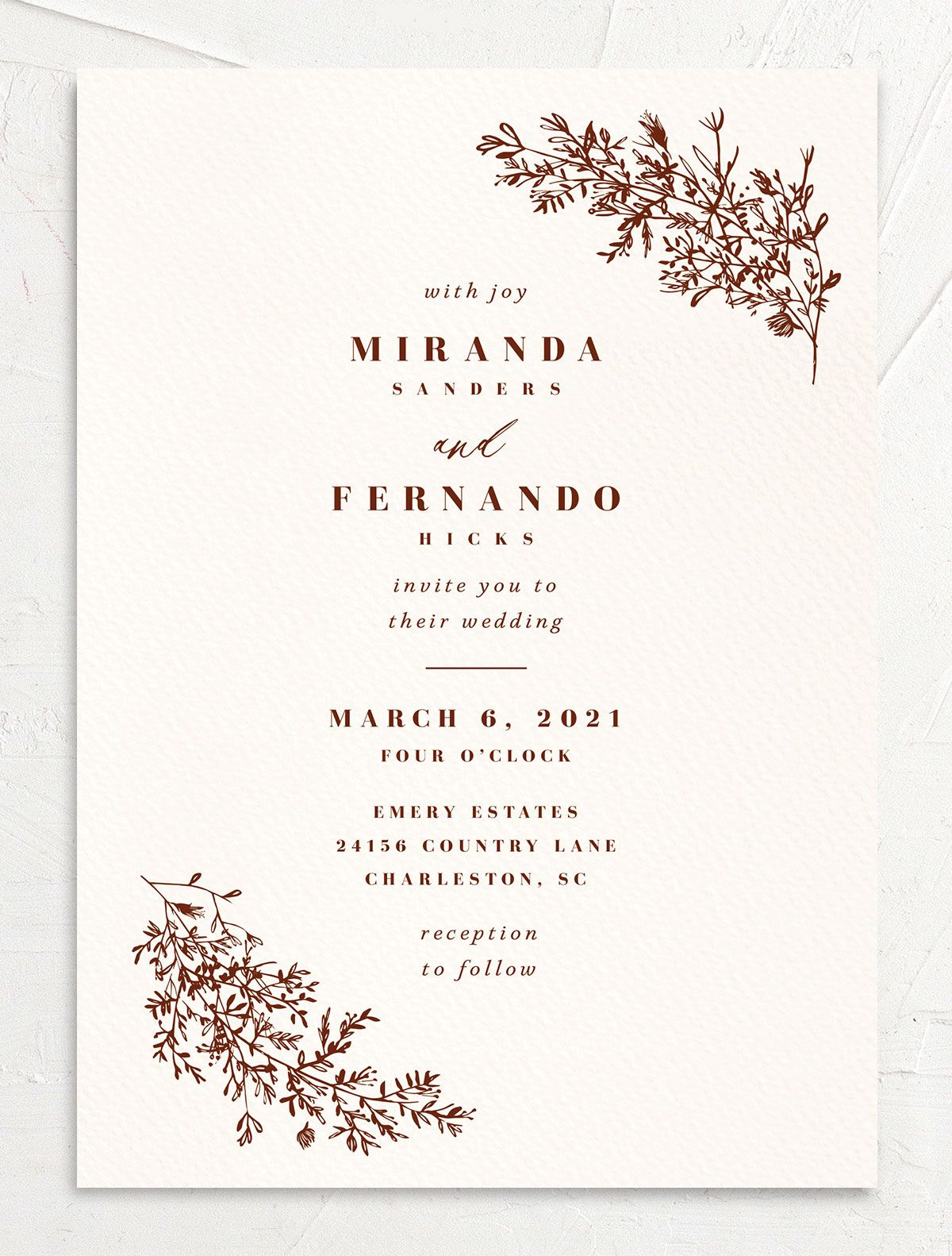 Botanical branches wedding invites in rust