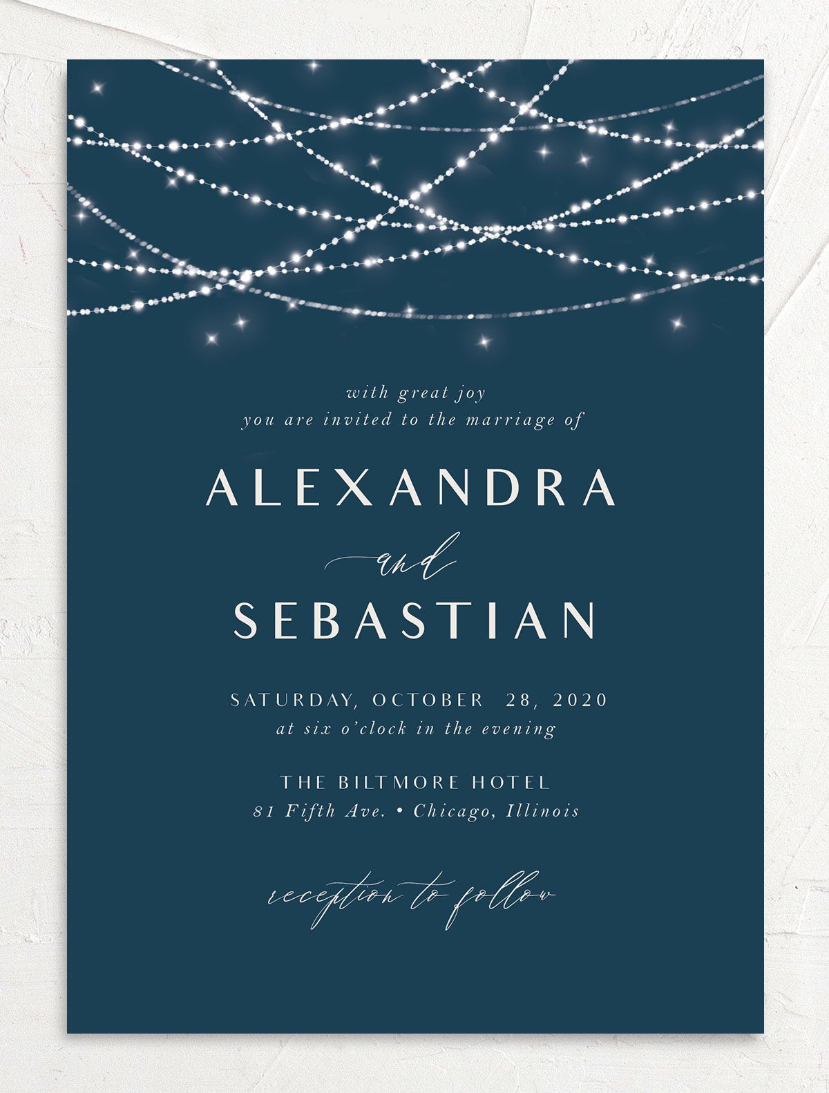 Elegant lights wedding invitations