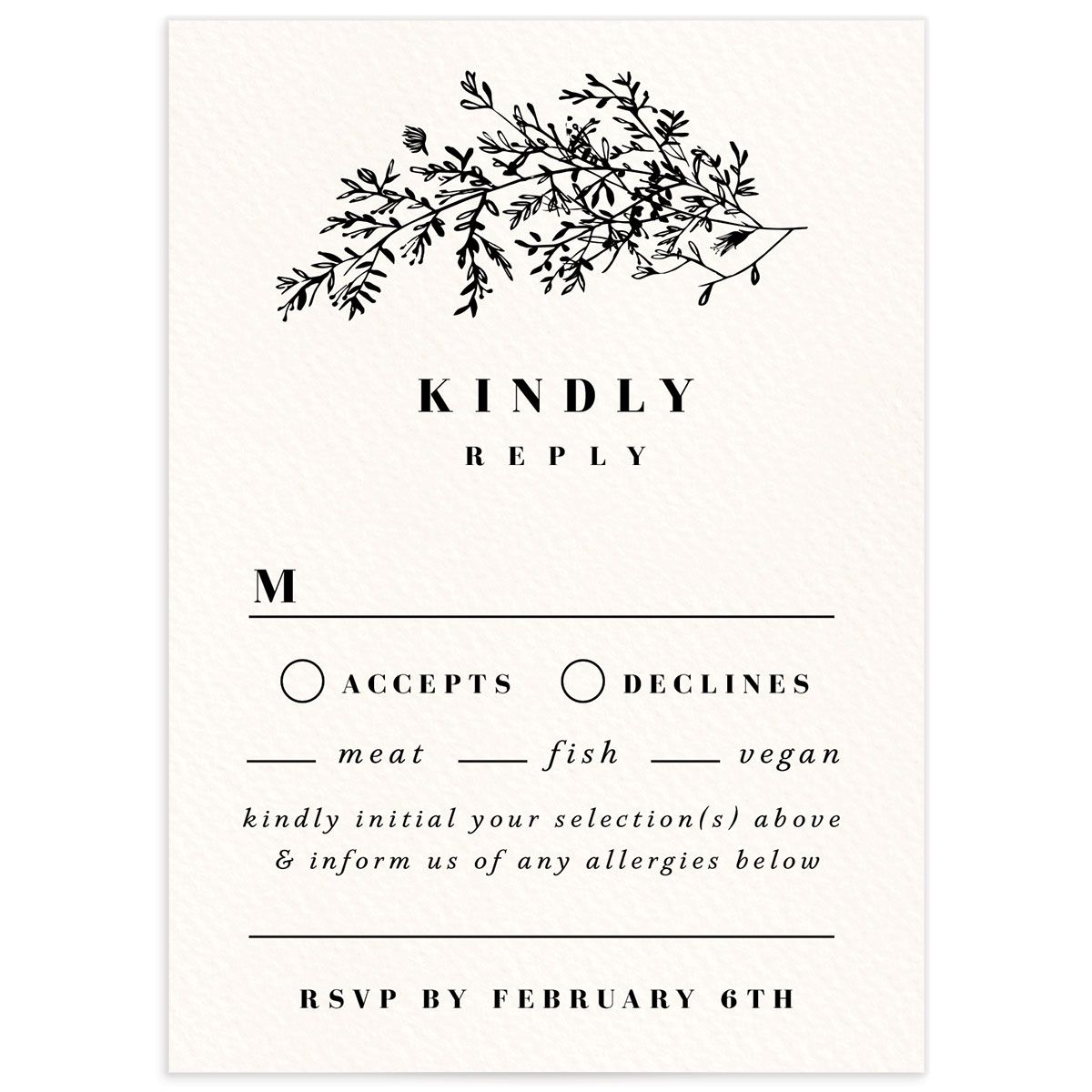 Botanical Branches wedding response card in black front
