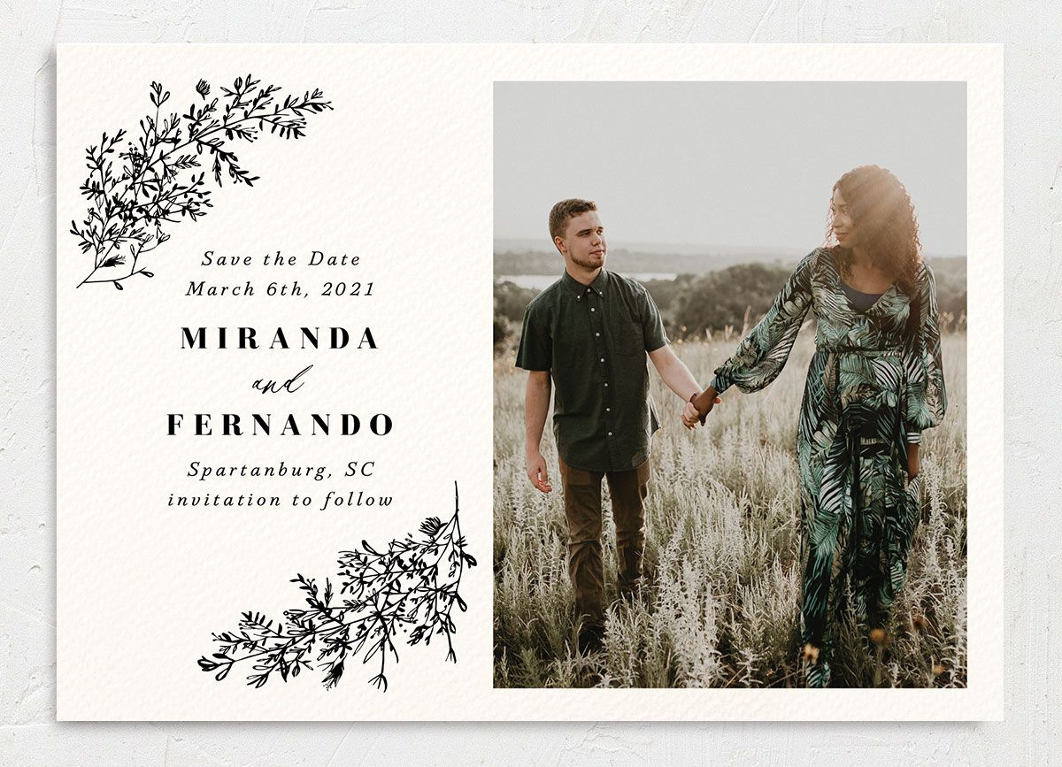 botanical branches photo save the date cards in black