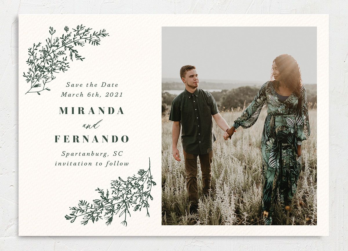 botanical branches photo save the dates in green