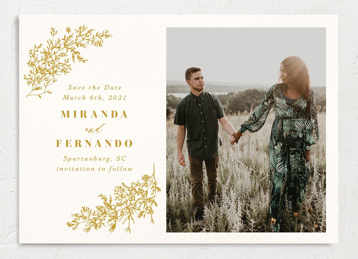 botanical branches photo save the date cards in mustard