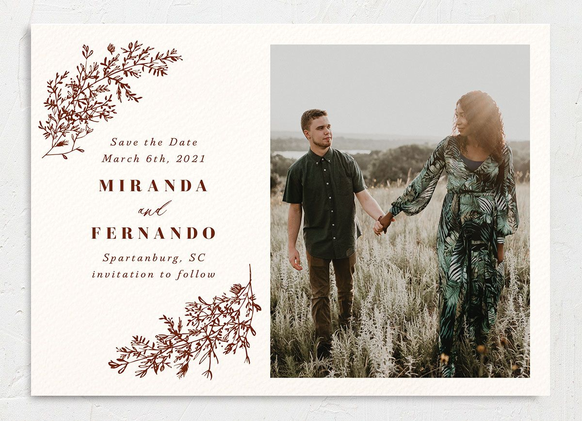 botanical branches photo save the dates in rust