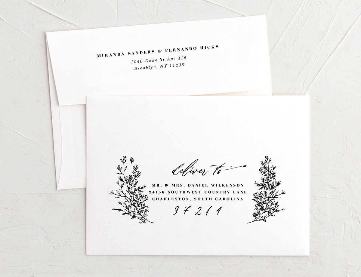 botanical branches recipient address printing in black