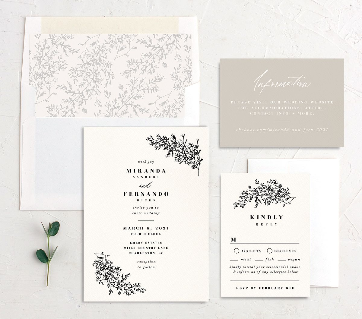 Botanical branches wedding invite suite in black