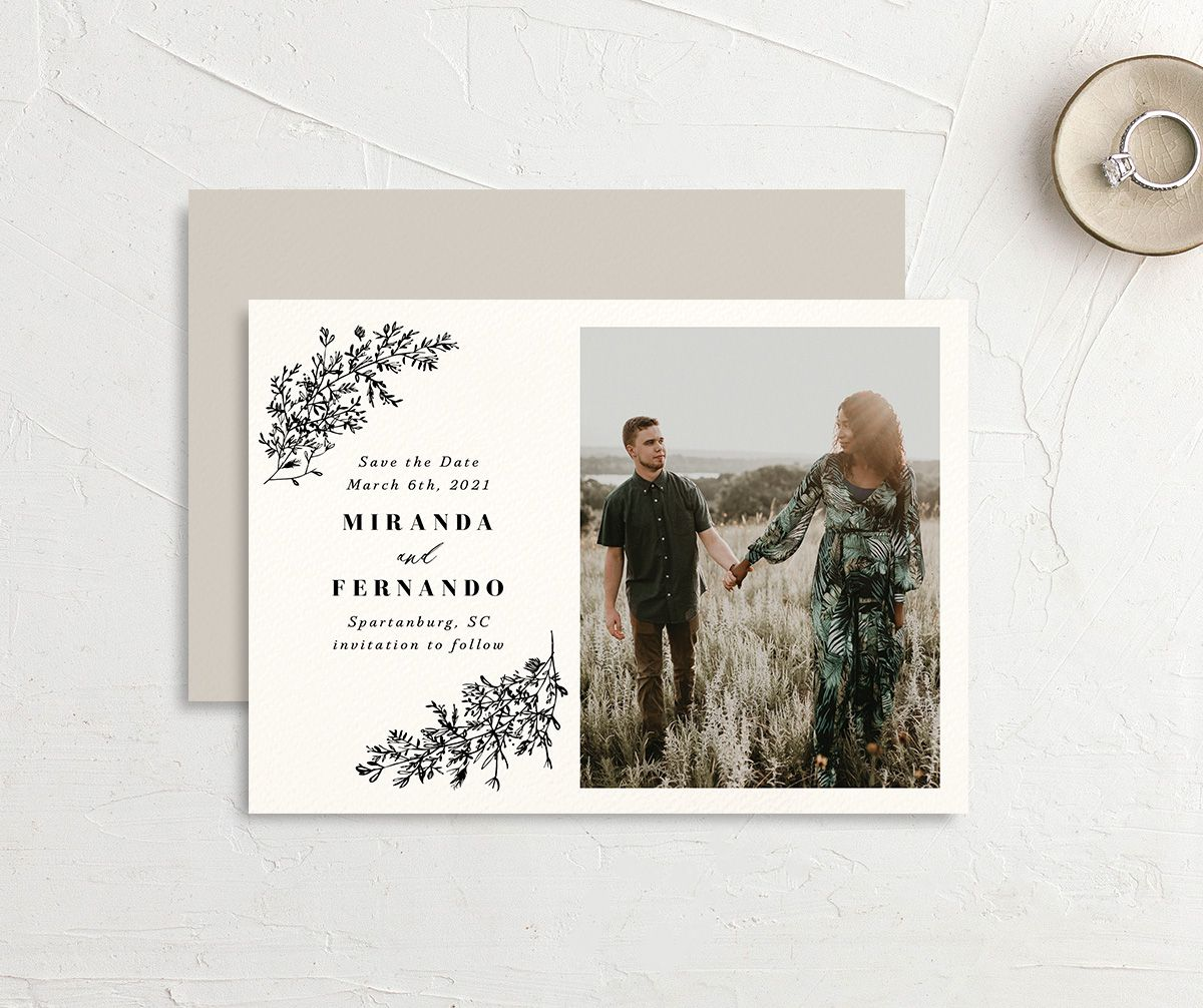 botanical branches save the date cards with engagement photo in black