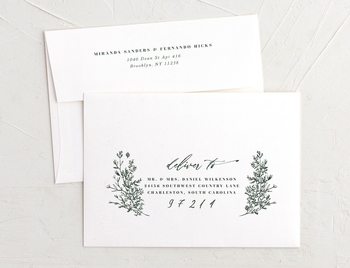 Botanical branches recipient address printing envelopes in green